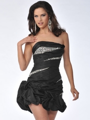 Tube Top w/Bubble Hem Short Prom Dress