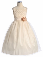 Tulle A-line Flower Girl Dress with Taffeta Bodice