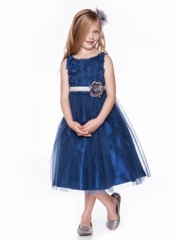 Tulle  Flower Girl Dress with Rosette Accented Bodice