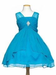 Turquoise Chiffon Short Junior Bridesmaid Dress