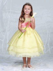 Yellow Layered Organza Flower Girl Dress