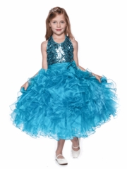 Ruffled Dress with Matching Bolero for Girls Pageant