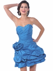 Turquoise Rosette Accented Short Prom Dress