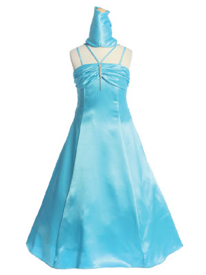 Turquoise Ruched Bodice Flower Girl Dress