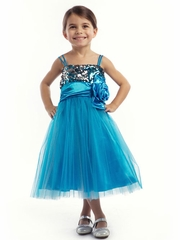Turquoise Tulle and Sequins Graduation Dress