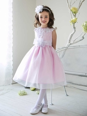 Two Tone Organza Flower Girl Dress with Applique