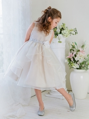 V-neck Flower Girl Dress with Organza Tulip Skirt