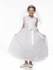 V-Neck Gathered Bodice Flower Girl Dress With Tulle Skirt