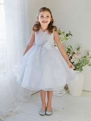 V-neck Lace and Organza Communion Dress