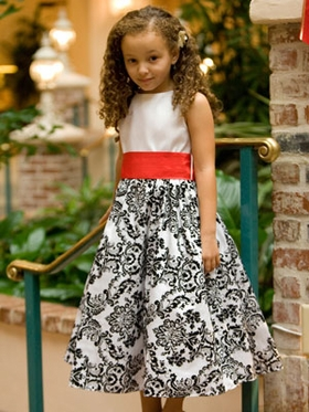 Velvet Flocked Floral Embroidered Taffeta Flower Girl Dress