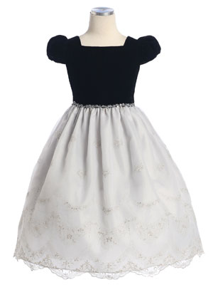 Velvet Top w/Embroidered Organza Skirt