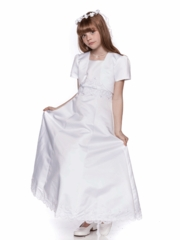White A-Line Satin Communion Dress