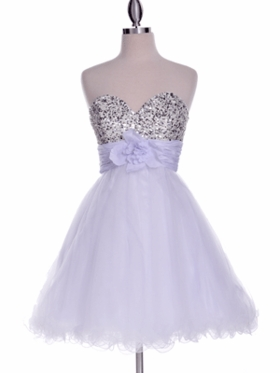White  Beaded Tulle Skirt Prom Dress