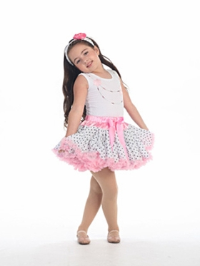 White Black Polka Dot Girl Tutu Set with Pink Accented Waist and Hem
