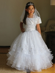 Taffeta Communion Dress with Organza Skirt