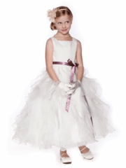 Ivory Elegant Flower Girl Dress with Satin Sash