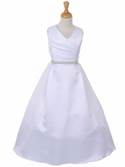 White Elegant Pleated  Bridal Satin Dress with Sequin Belt