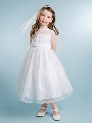 White Embroidered Lace Dress With Organza Sash