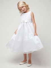 Flower Cord Embroidery Communion Dress