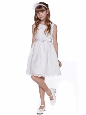 White Lace Dress with Satin Sash