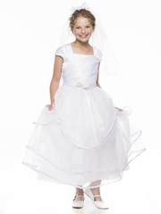 White Matte Satin Dress with Cap Sleeves