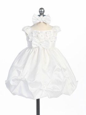 White Mini Flowers Flower Girl Dress