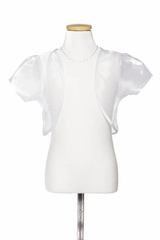 White Organza Bolero With Satin Edging