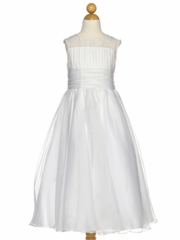 White Organza Communion Dress with Gathered Top
