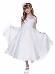 White Pearl Trim Satin Communion Dress