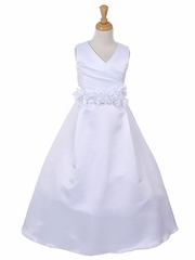 White Pleated Floor Length Bridal Satin Dress
