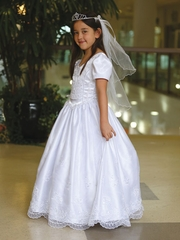 White Pretty Satin Communion Dress with Organza Skirt