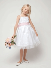 White Rose Bodice Taffeta Dress