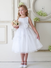 White Satin and Organza Overlay Flower Girl Dress