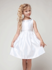 White Satin  Dress With Boat Neckline