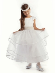 White Satin Dress with Pearl Waist Band