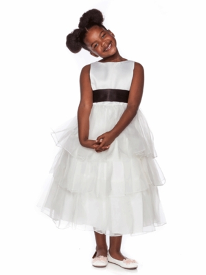 White Satin Flower Girl Dress with Multi Tiered Organza Skirt