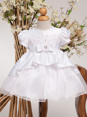 White Satin Overlay Infant Dress