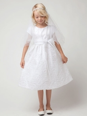 White Sequin and Embroidered Organza Dress