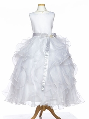 White Stunning  Dress with Satin Sash