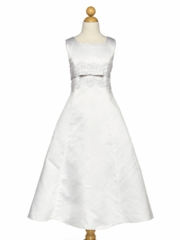 White Sweet Beaded A-Line Communion Dress