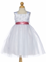 White Taffeta and Tulle Flower Girl Dress