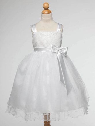 White Tulle and Satin Sequined Flower Girl Dress