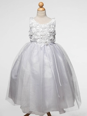 White Tulle Dress with Rosette Bodice