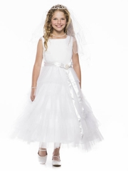 White Tulle Layered  Dress with Satin Sash