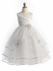 White Two Satin Dress with Tulle Skirt