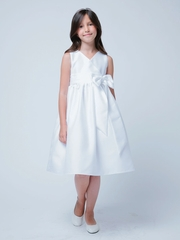 White V-Neck Polysilk With Bow Flower Girl Dress