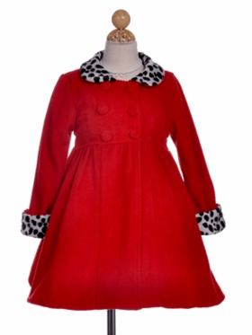 Winter Fleece Holiday Dress Coat in Red