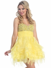Yellow Multi - Layered Short Prom Dress