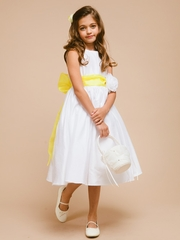 Yellow Organza Sash Flower Girl Dress