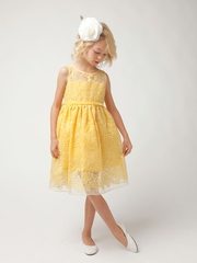 Yellow Sheer Panel Organza Flower Girl Dress